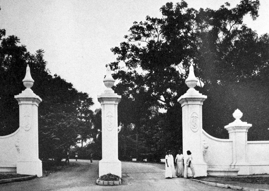 Tongaat Sugar Estate workers outside the Grand Entrance, 1960s, picture credit Tongaati by RGT Watson